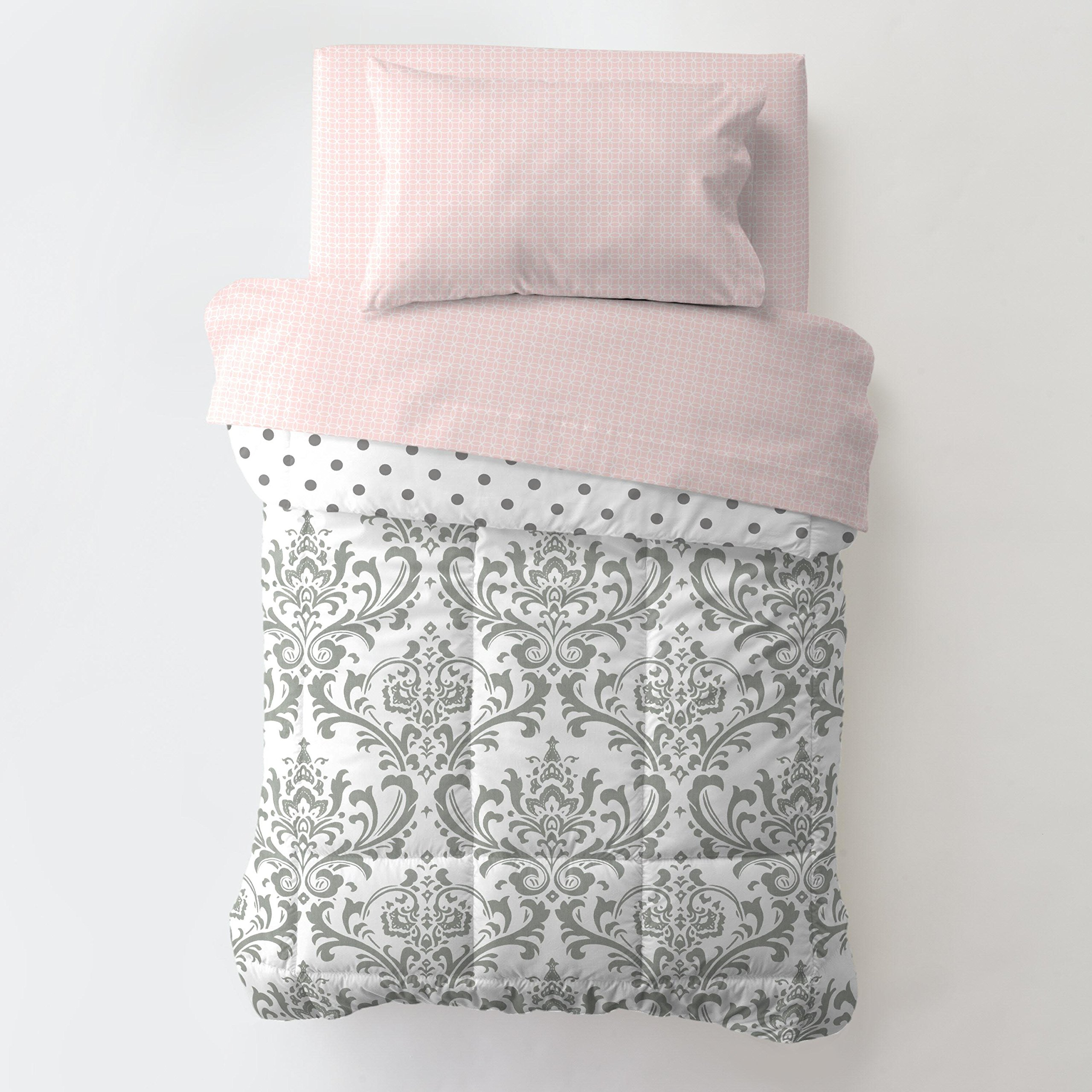 Carousel Designs Pink and Gray Traditions Toddler Bed Comforter