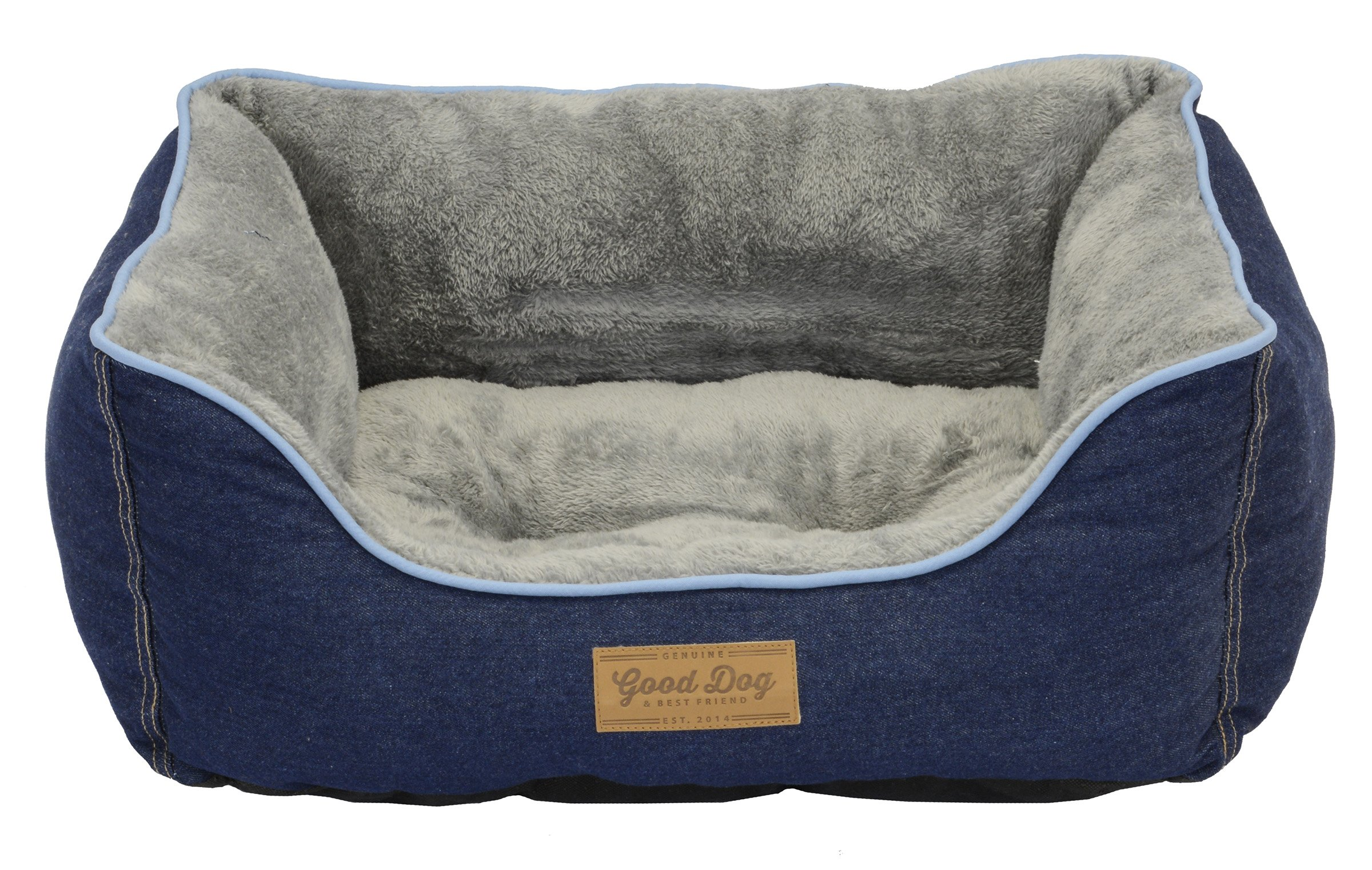 Dallas Manufacturing Co. Dog Bed with Bolstered Sides by Good Dog & Best Friend | Machine Washable Bed in Denim with Non Skid Bottom