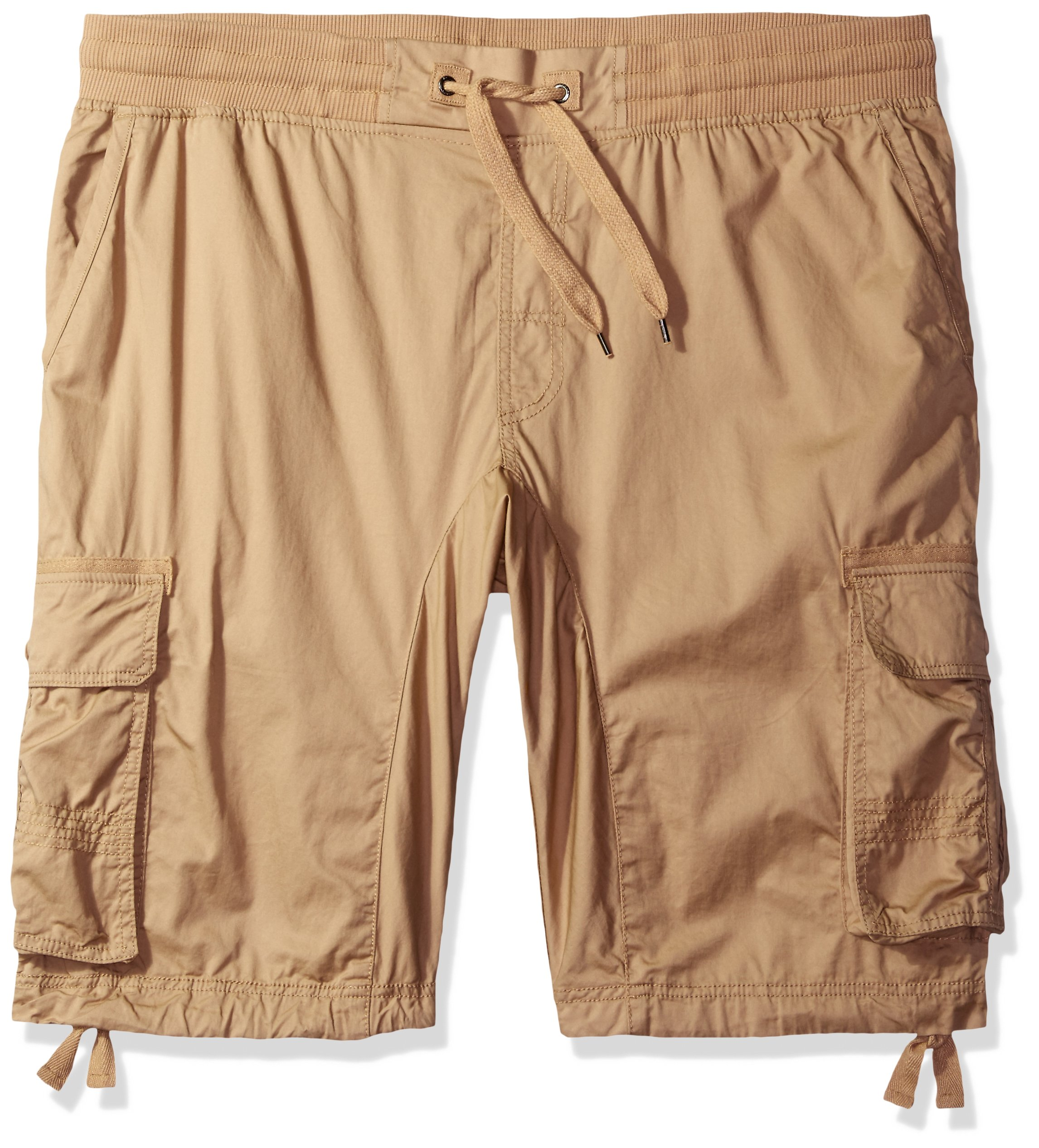 Southpole Men's Big and Tall Jogger Shorts with Cargo Pockets in Solid and Camo Colors, Deep Khaki(New), 5X-Large
