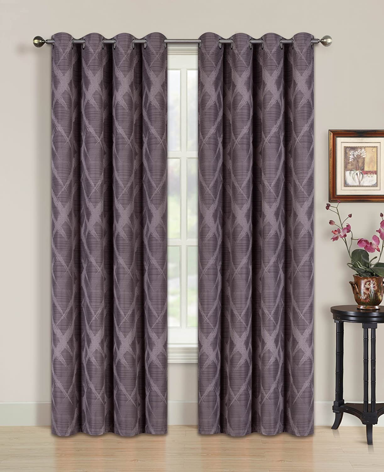 """All American Collection Blackout Curtain with Brushed Diamond Pattern 