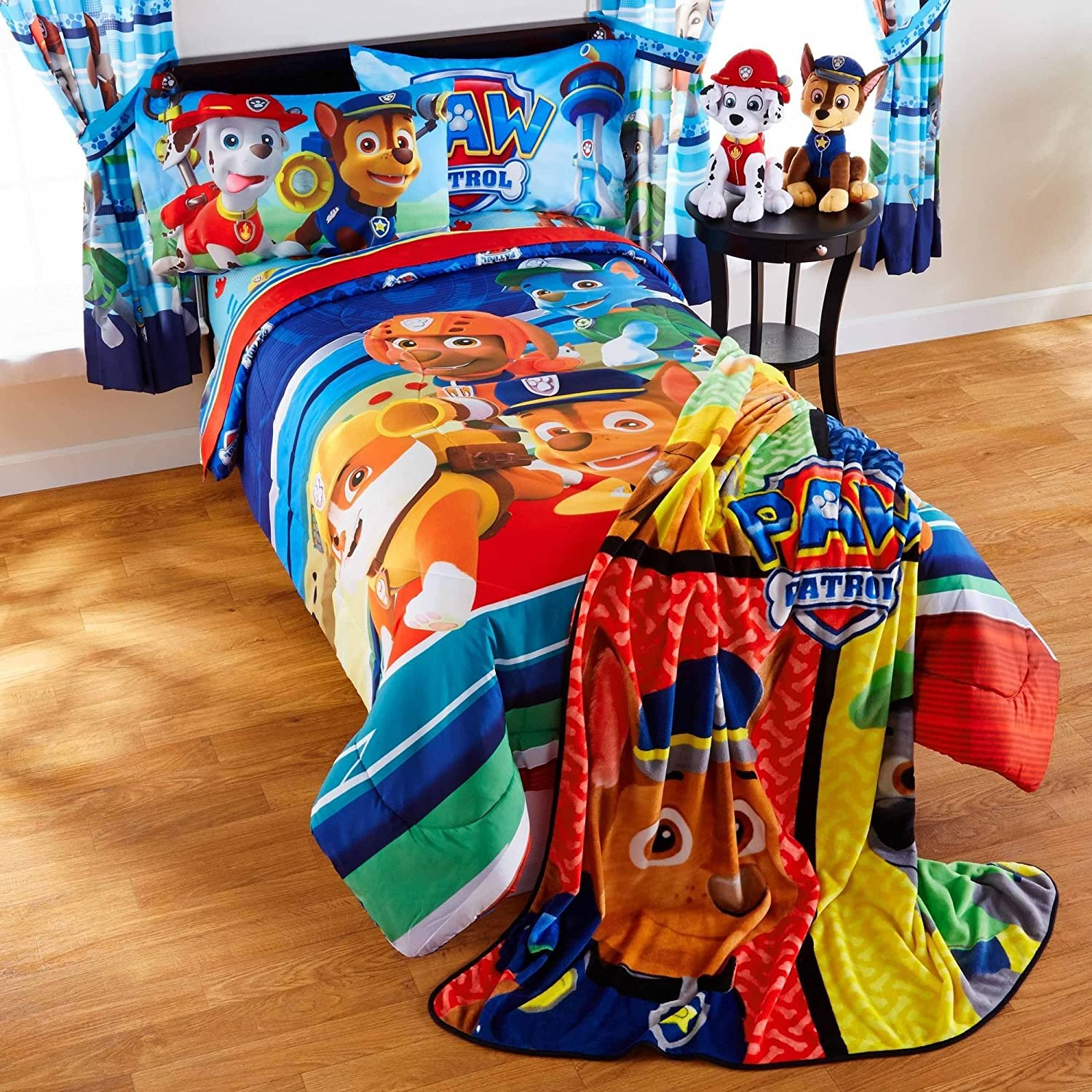 LO 5 Piece Kids Red Orange Blue Paw Patrol Comforter Full Set, Ryder Bedding Marshall Chase Rubble Fire Rescue Police Dog Heroe Puppies Pattern Doggy Paw Prints, Reversible Polyester