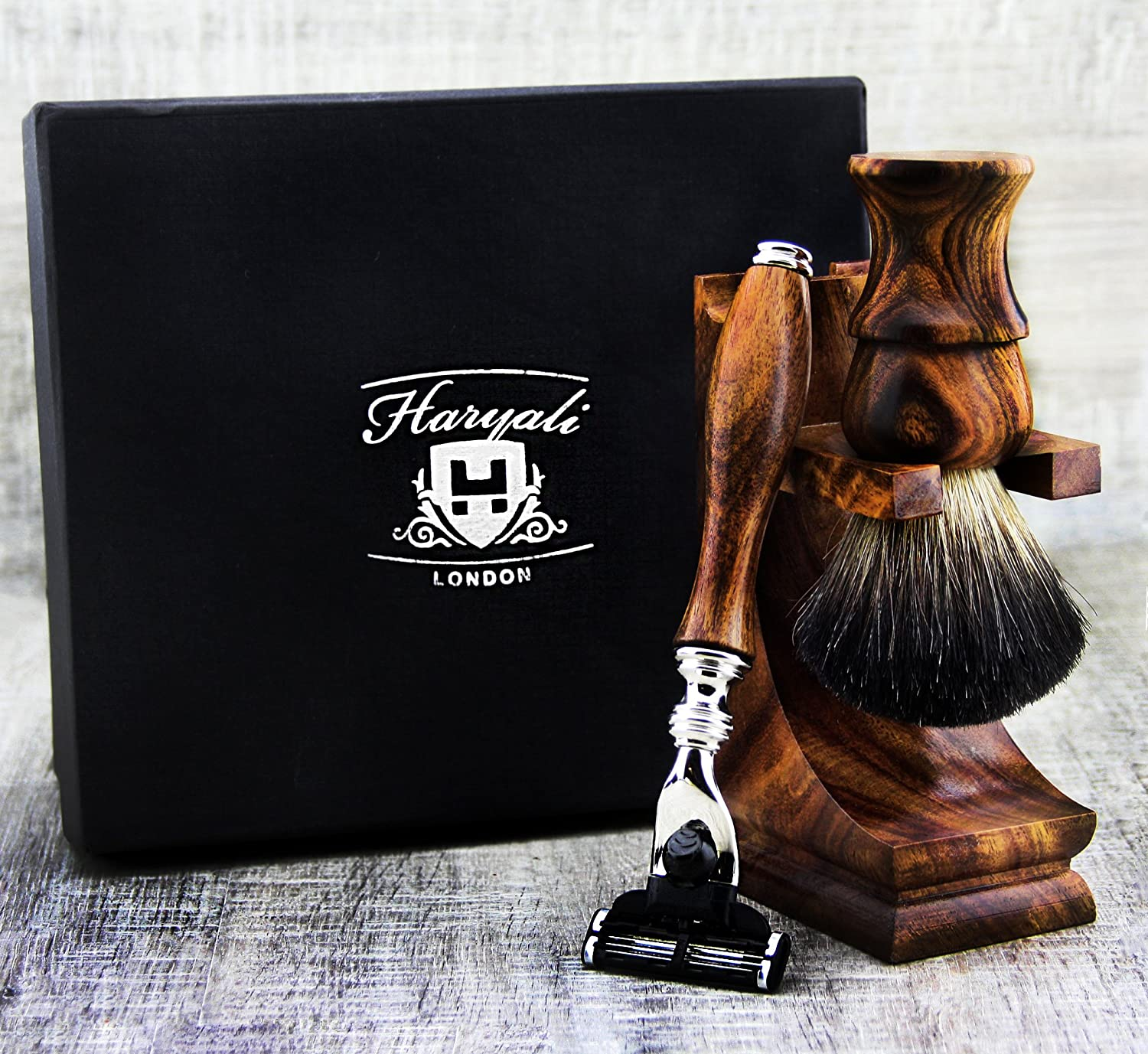 3 Pieces Wooden Shaving Set For Men's. The Set Comes With 3 types Of Optional Razor Head Like Gillette Fusion, Gillette Mach 3 & De Safety(NO BLADES INCLUDED). The Set Also Includes Shaving Brush With Synthetic Badger Looking Hair & Stand For Both