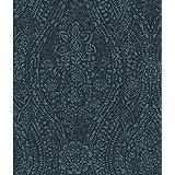 RoomMates RMK11569WP Dark Blue Ornate Ogee Peel and Stick Wallpaper