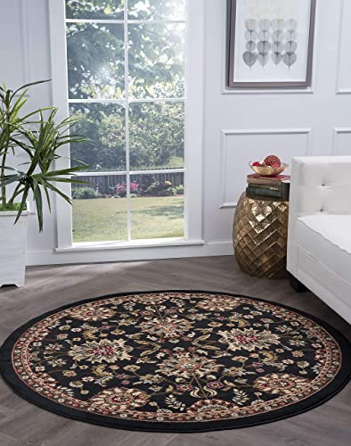 Tayse Leanna Black 8 Foot Round Area Rug