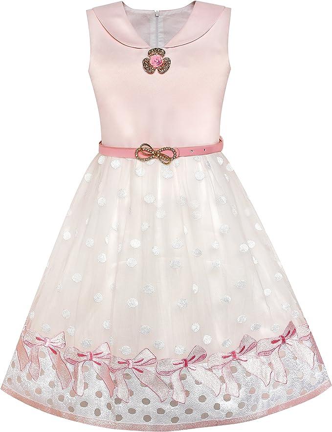 Sunny Fashion Vestido para niña Marinero Collar Rosa Ceñido ...