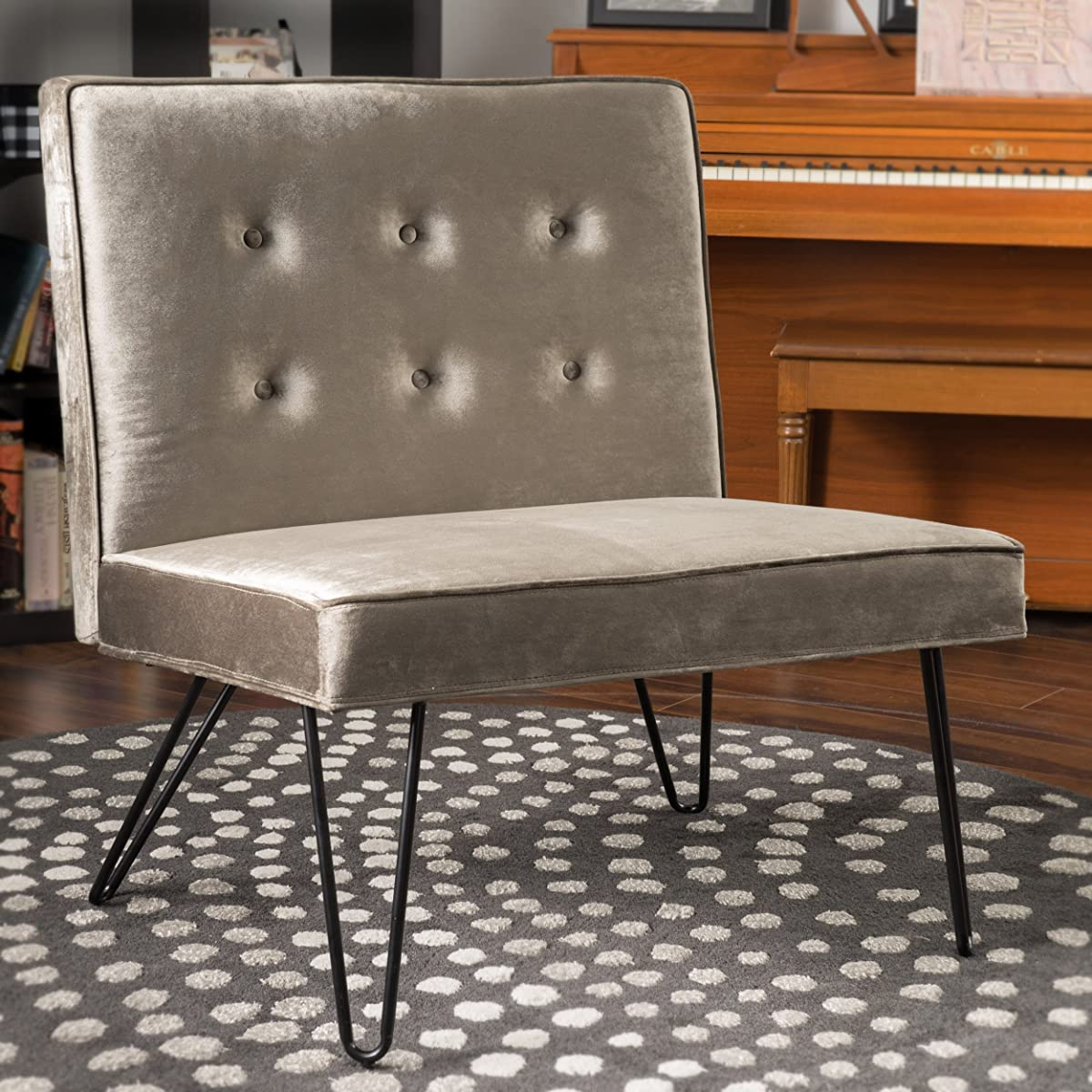 DuSoleil New Velvet Mid Century Modern Armless Hair Pin Leg Chair (Grey)