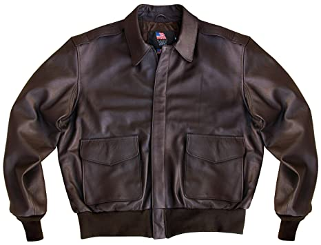 0788b862bc961 US Wings Kangaroo A-2 Brown Leather Bomber Jacket at Amazon Men s ...