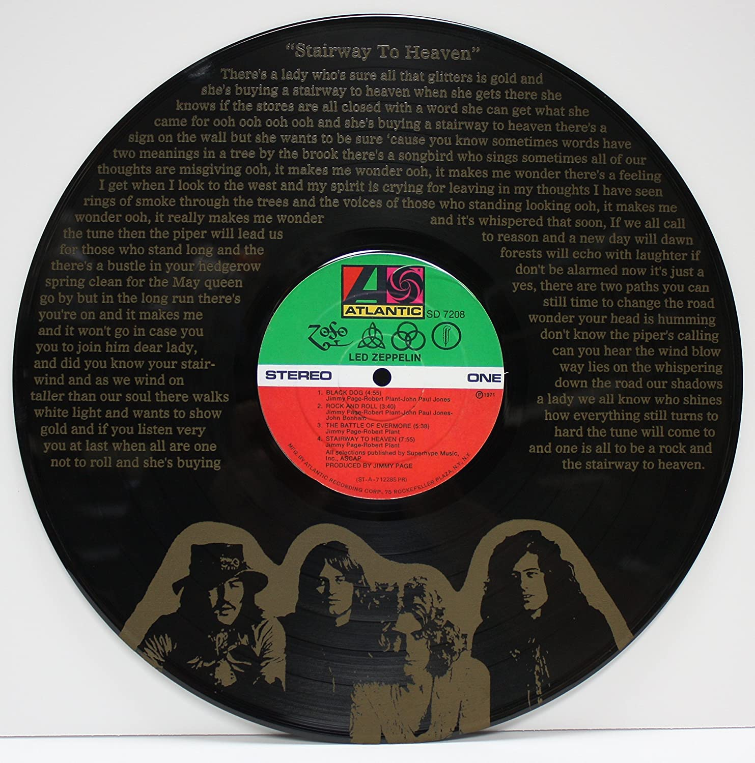 Led Zeppelin Stairway To Heaven LTD Edition 12' vinyl LP record Laser Etched wall art, ready to hang.'M4' ready to hang.M4
