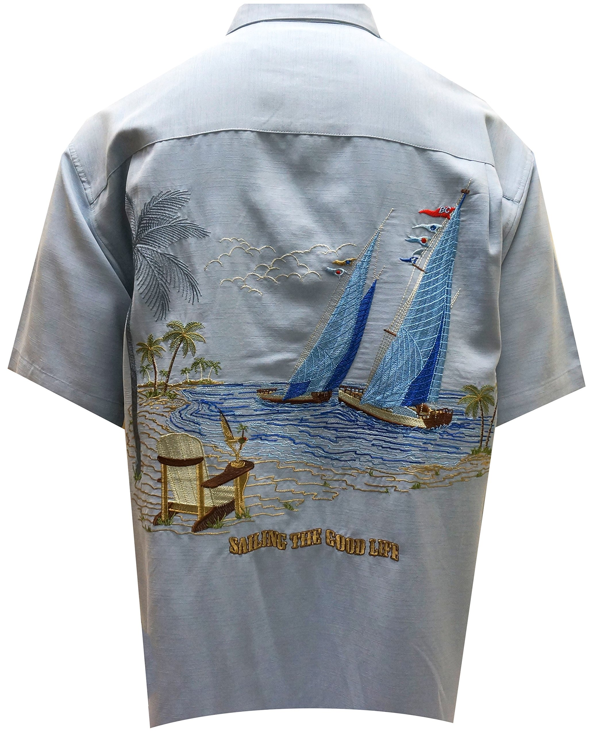 Bamboo Cay Men's Sailing the Good Life, Button Front Embroidered Camp Shirt (2XL, Blue)