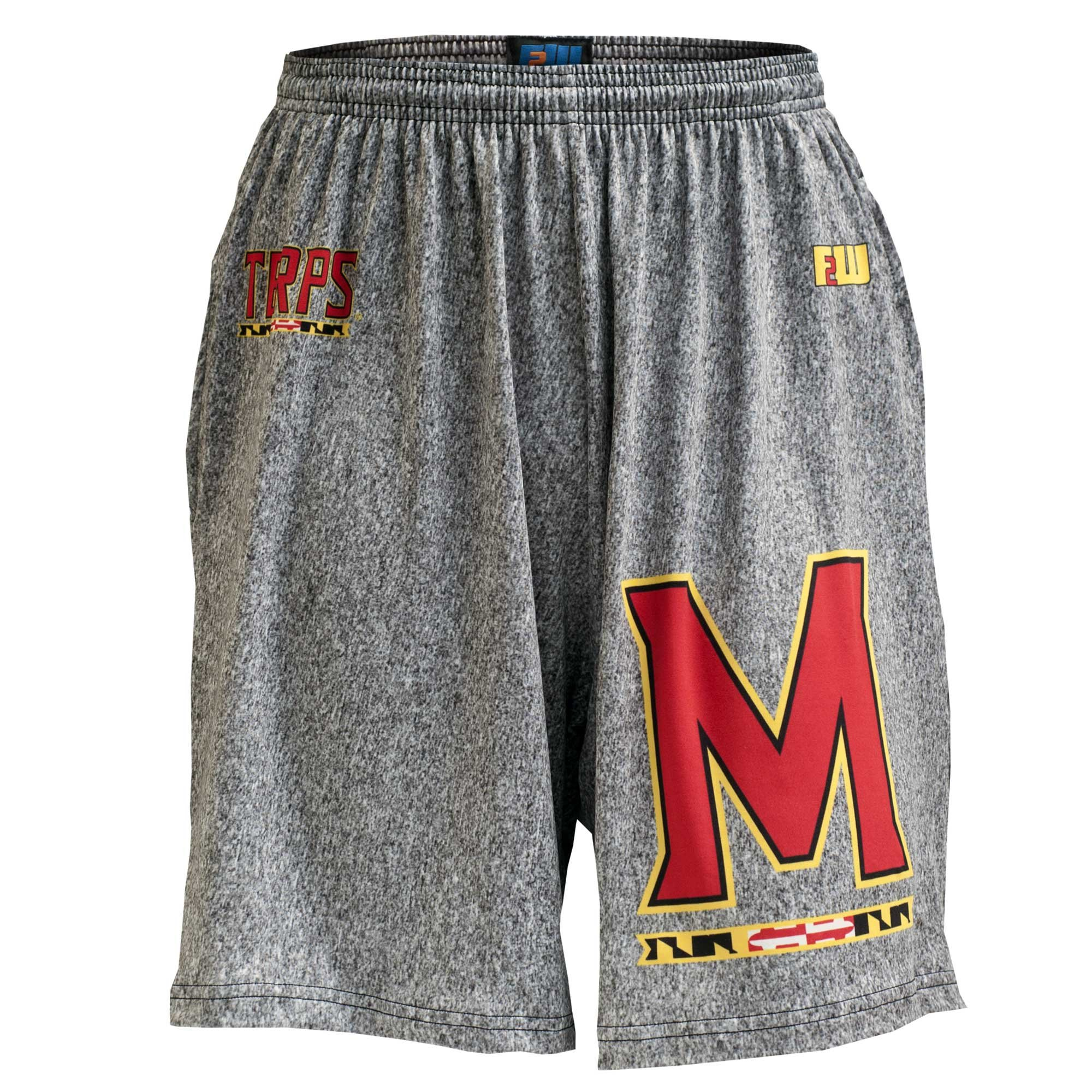 Fit 2 Win Maryland Terps Heathered Gray Sublimated Short, XL