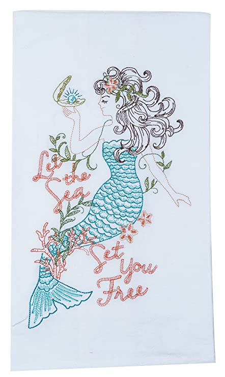 Amazon.com: Kay Dee Designs A8556 Mermaid Embroidered Flour Sack Towel: Home & Kitchen