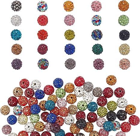 PH PandaHall 100pcs 10mm Crystal Rhinestone Clay Beads Clay Pave Disco Ball Shamballa Clay Beads for Jewelry Making