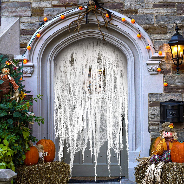 Cmaone 11 Yards Halloween Creepy Cloth, Spooky Fabric Cloth Creepy Halloween Indoor/Outdoor Decor Drape Doorways Entryways Windows Cover Gauze for Halloween Haunted House Party, White