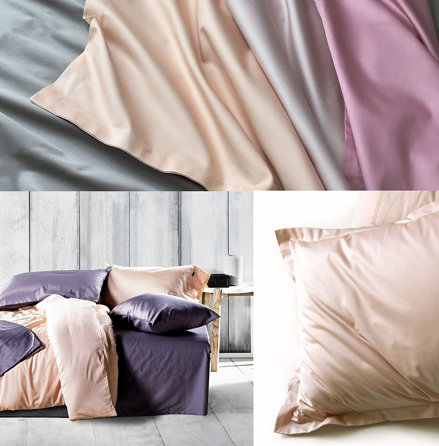 Rose Gold Duvet Cover Luxury Bedding Set High Thread Count Egyptian Cotton