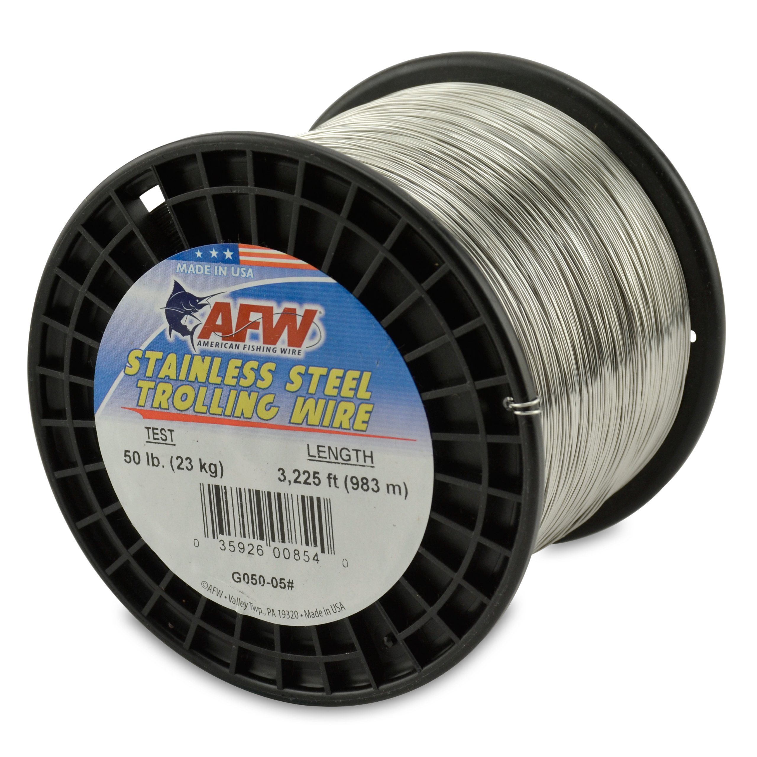 American Fishing Wire Stainless Steel Trolling Wire, 50-Pound Test/0.61mm Dia/982m by American Fishing Wire