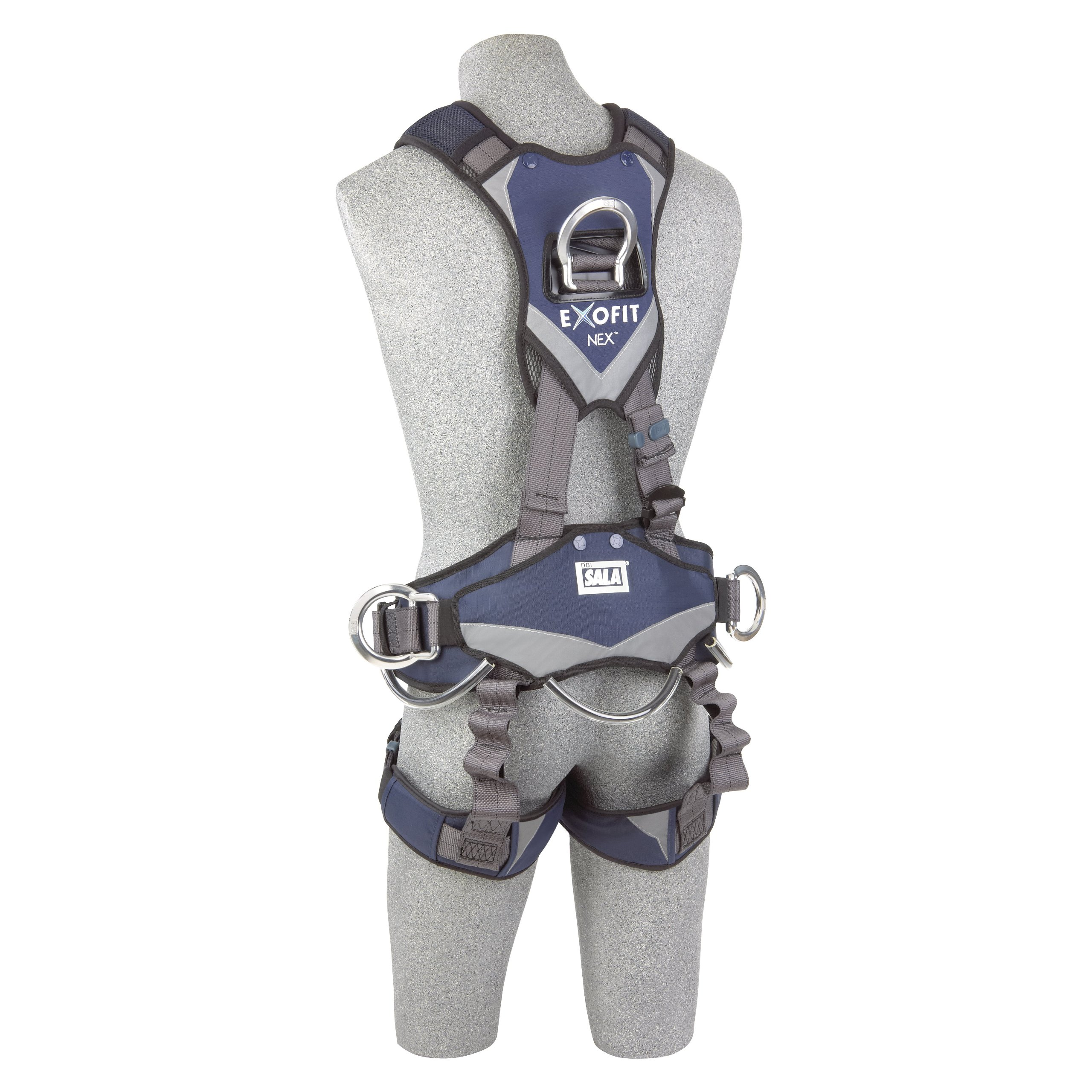 3M DBI-SALA ExoFit NEX 1113346 Full Body Rope Access/Rescue Harness, Alum Back/Front/Suspension D-Rings, Belt w/ Pad/Side D-Rings, Locking QC Leg Straps, Medium, Blue/Grey by 3M Fall Protection Business (Image #4)