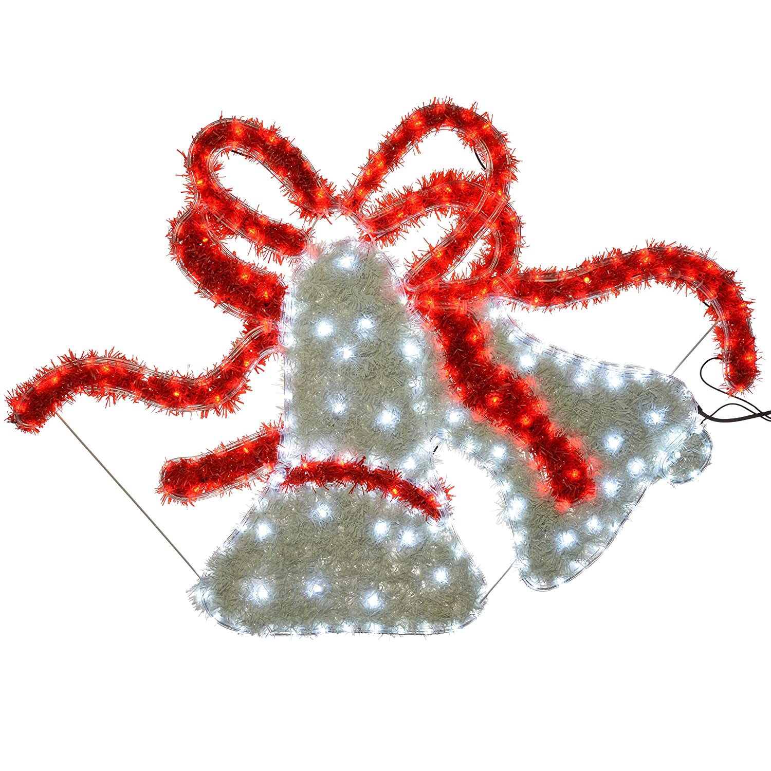 WeRChristmas Bells LED Rope Lights and Tinsel Silhouette Outdoor Garden Wall, 113 cm - Large, Multi-Colour WRC-6004