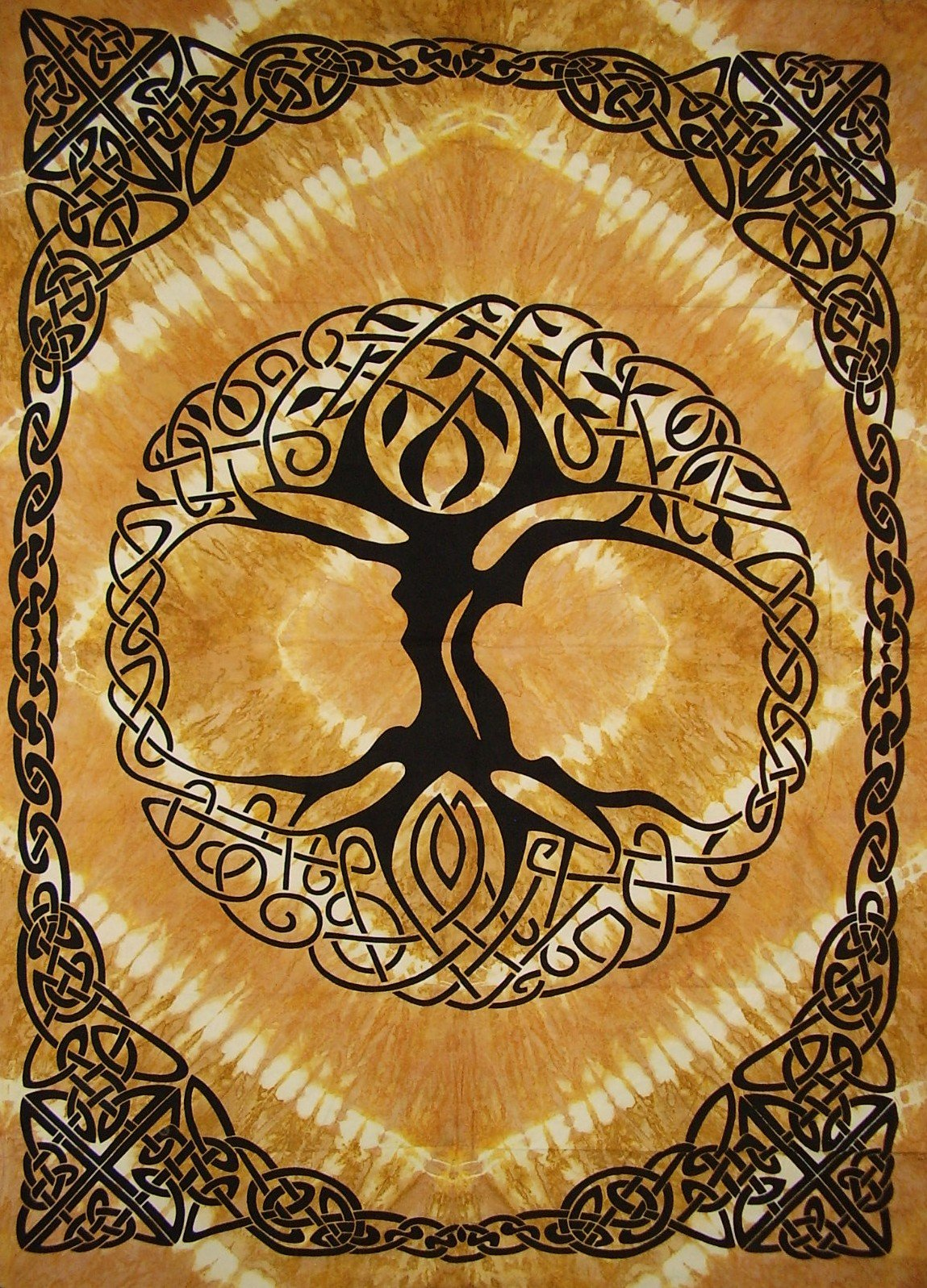 Celtic Tree of Life Tie Dye Tapestry Heavy Cotton Spread 98'' x 70'' Twin Amber