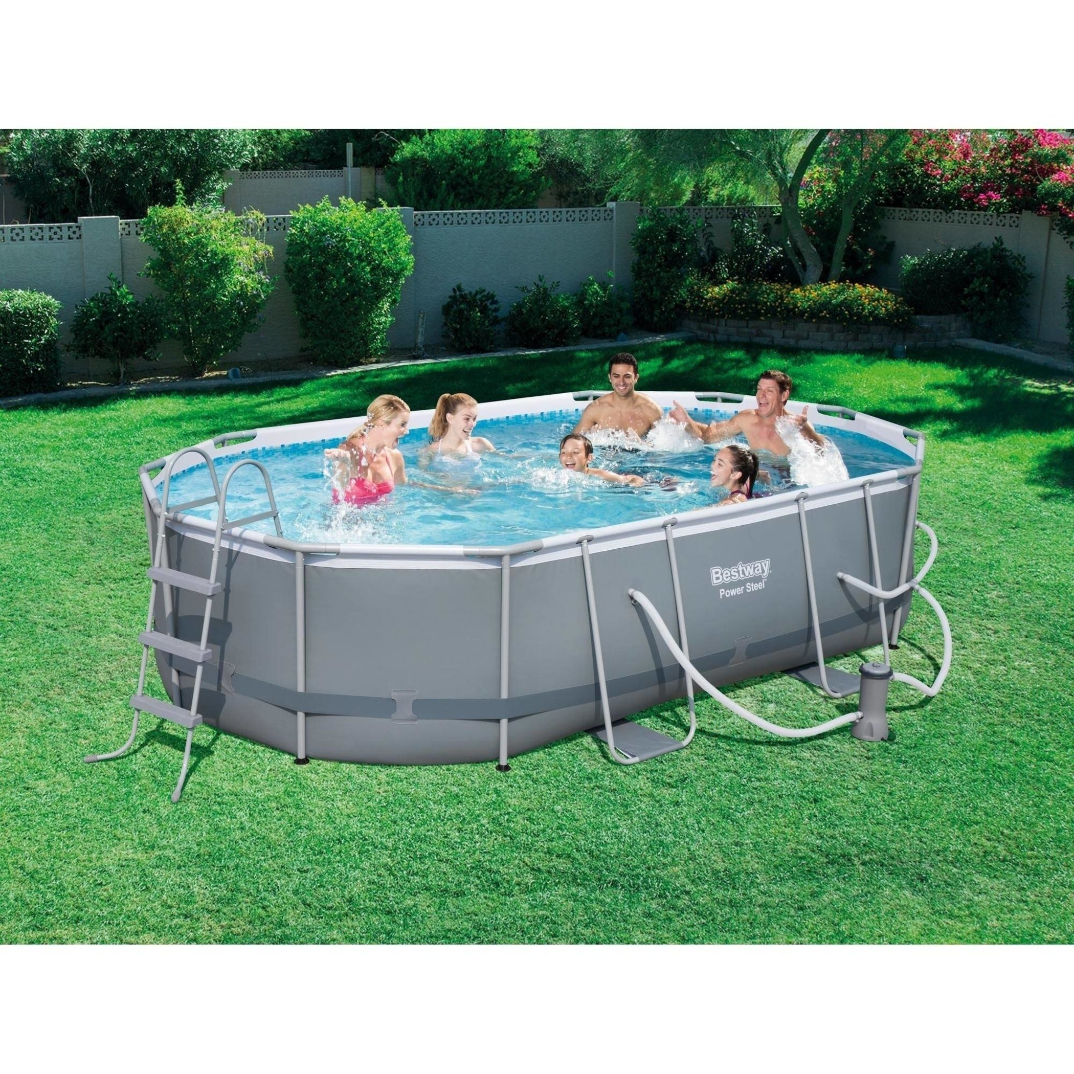 Power Steel 16' x 10' x 42'' Oval Frame Swimming Pool Set with Filter Pump, Ground Cloth, Pool Cover and Ladder