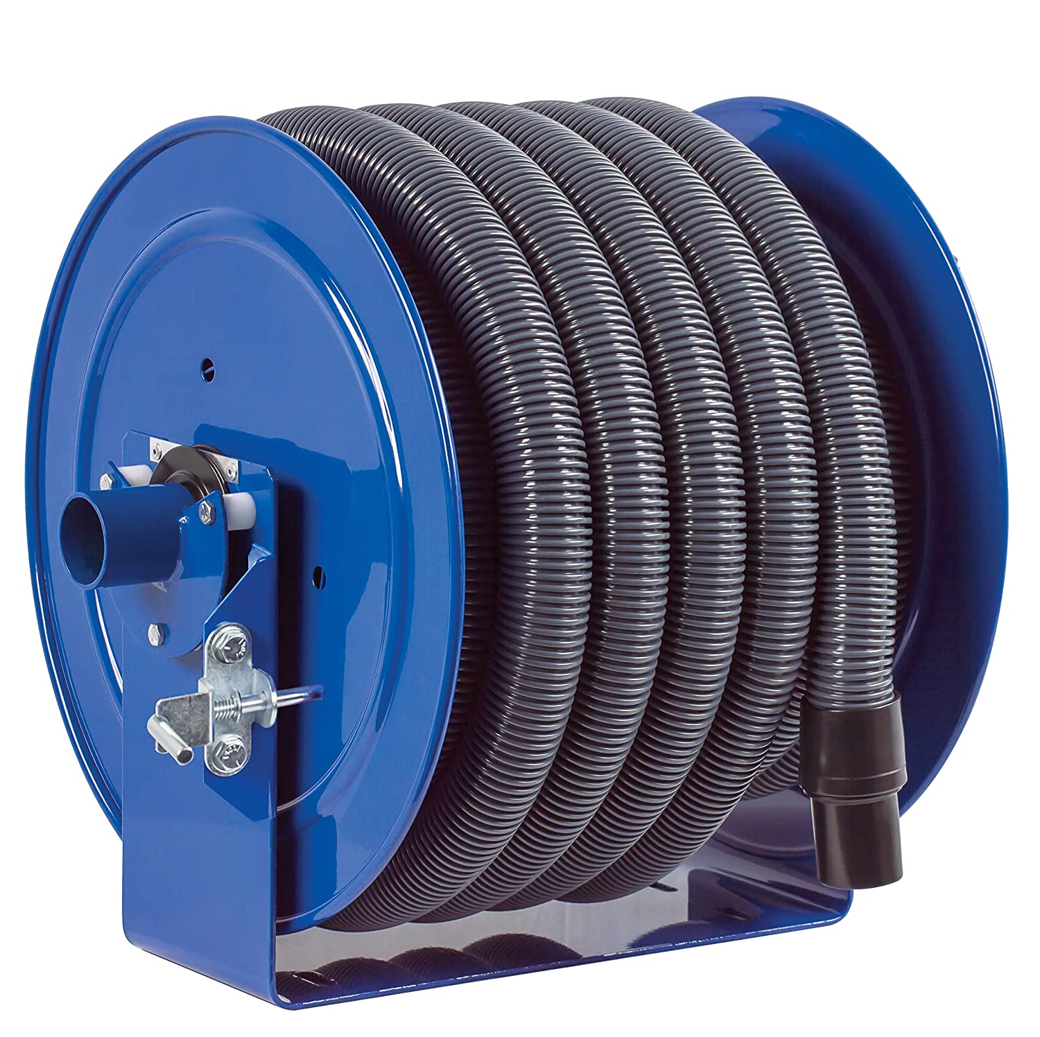 "Coxreels V-117H-850-BXXX-XXP V-117-850-Bxxx-XP Vacuum Only Direct Crank Rewind Hose Reel, 1-1/2"" Cuff, 2"" x 50' Hose, with Pin Lock, Blue"