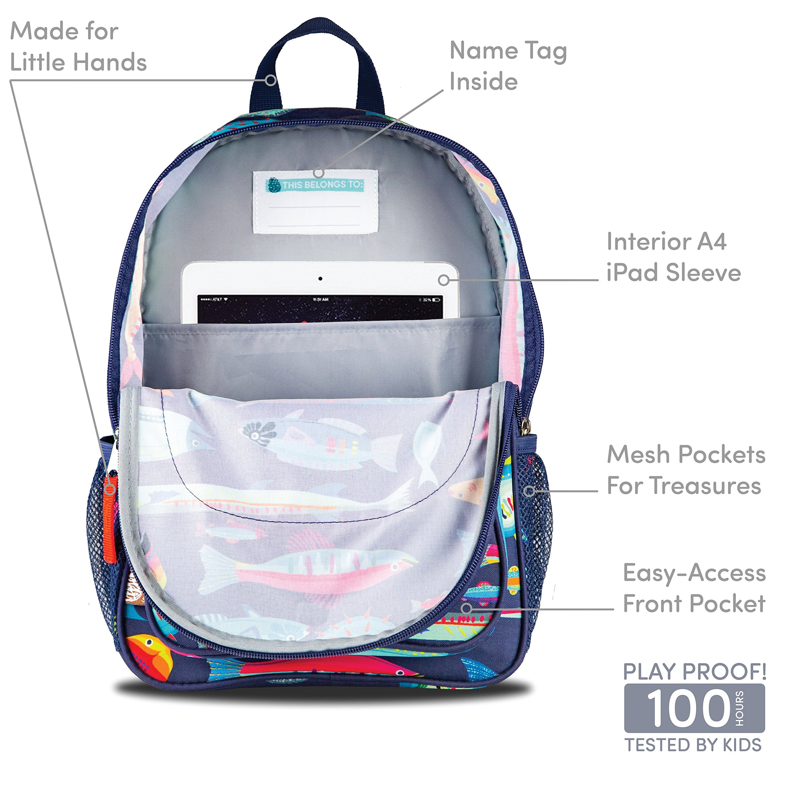 LONECONE Kids' Canvas Preschool Backpack - Integrated Tablet Sleeve, School of Fish by LONECONE (Image #4)