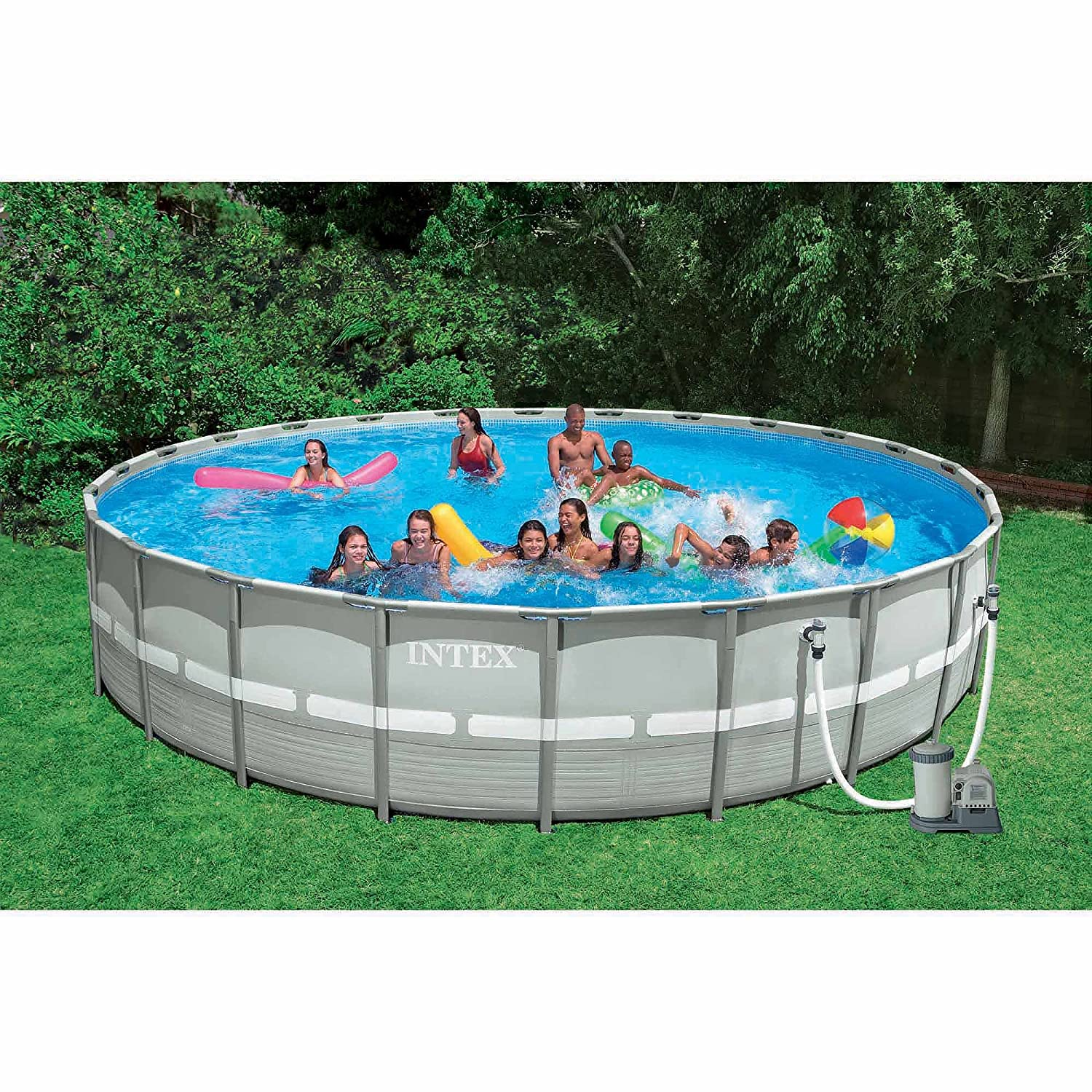 amazoncom intex 26 feet x 52 inches above ground ultra frame pool set with gfci 54969wa garden outdoor - Intex Pools