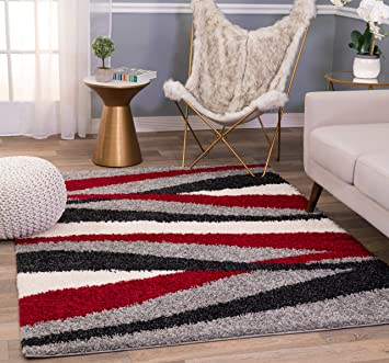 Amazon Com Rugshop Cozy Shag Waves Area Rug 3 3 X 5 Red