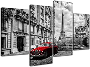 NAN Wind 4 Panels Modern Giclee Canvas Prints Paris Black and White with Eiffel Tower Red Car Wall Art Landscape Wall Decor Paintings on Canvas Stretched and Framed Ready to Hang for Home Decor
