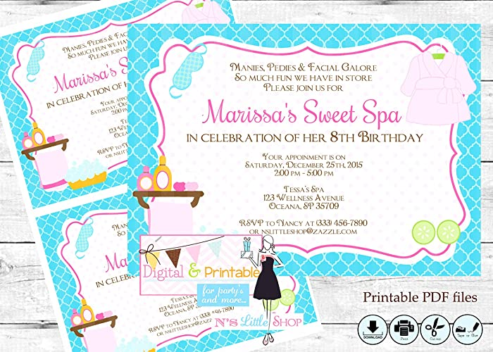 Spa Party Invitation Editable Digital Printable PDF Files