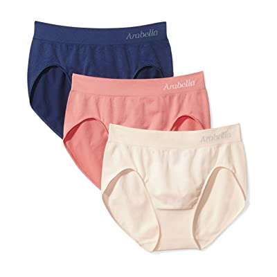 Brand - Arabella Women's Plus Size Seamless Hi Cut Brief Panty, 3 Pack: Clothing