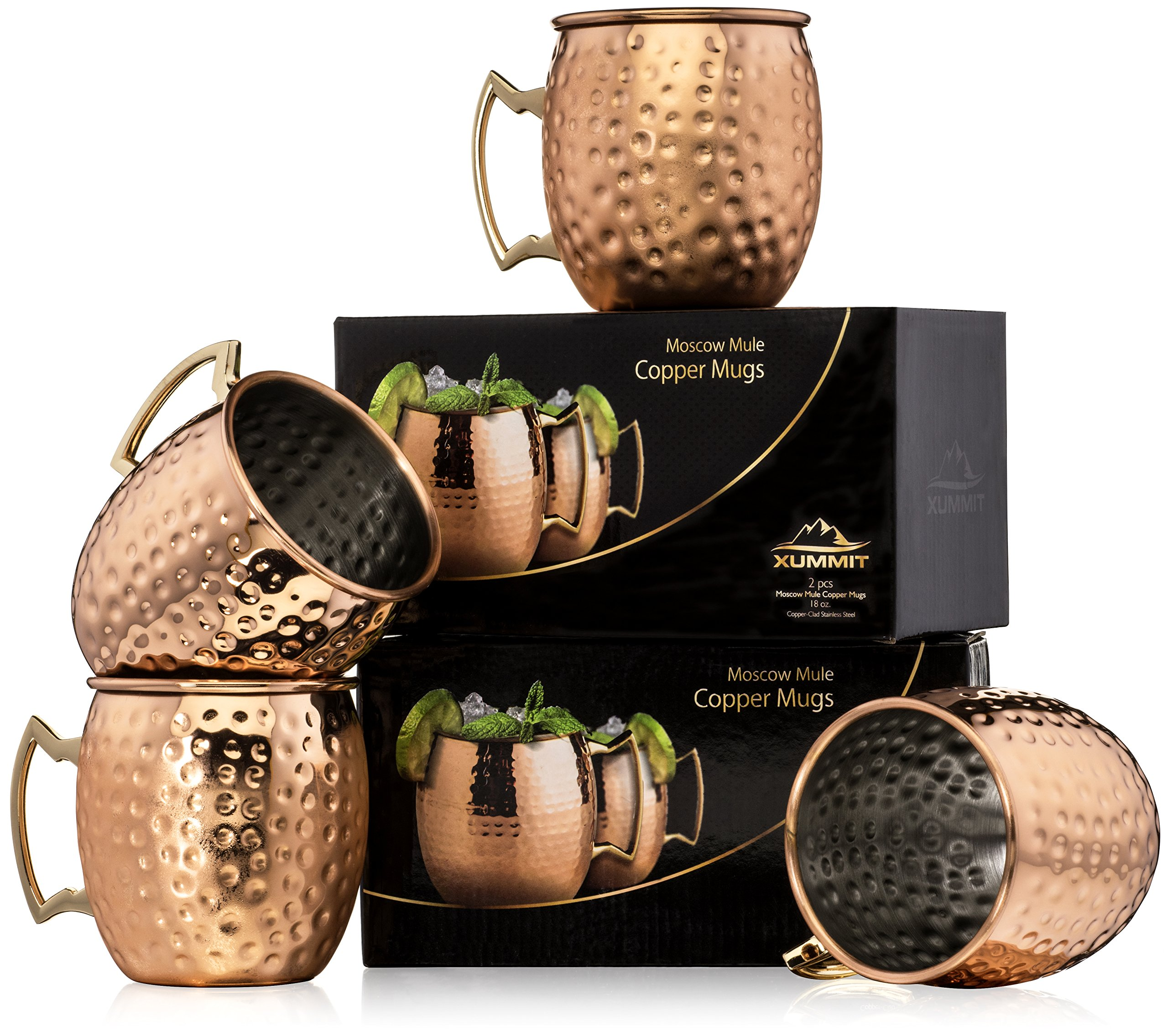 Xummit Stunning Hammered Moscow Mule Copper Mug / Cup with Golden-Hued Handle - 18 Oz (Set of 4)