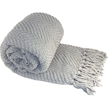 Home Soft Things Boon Knitted Tweed Throw Couch Cover Blanket, 50 x 60, Silver