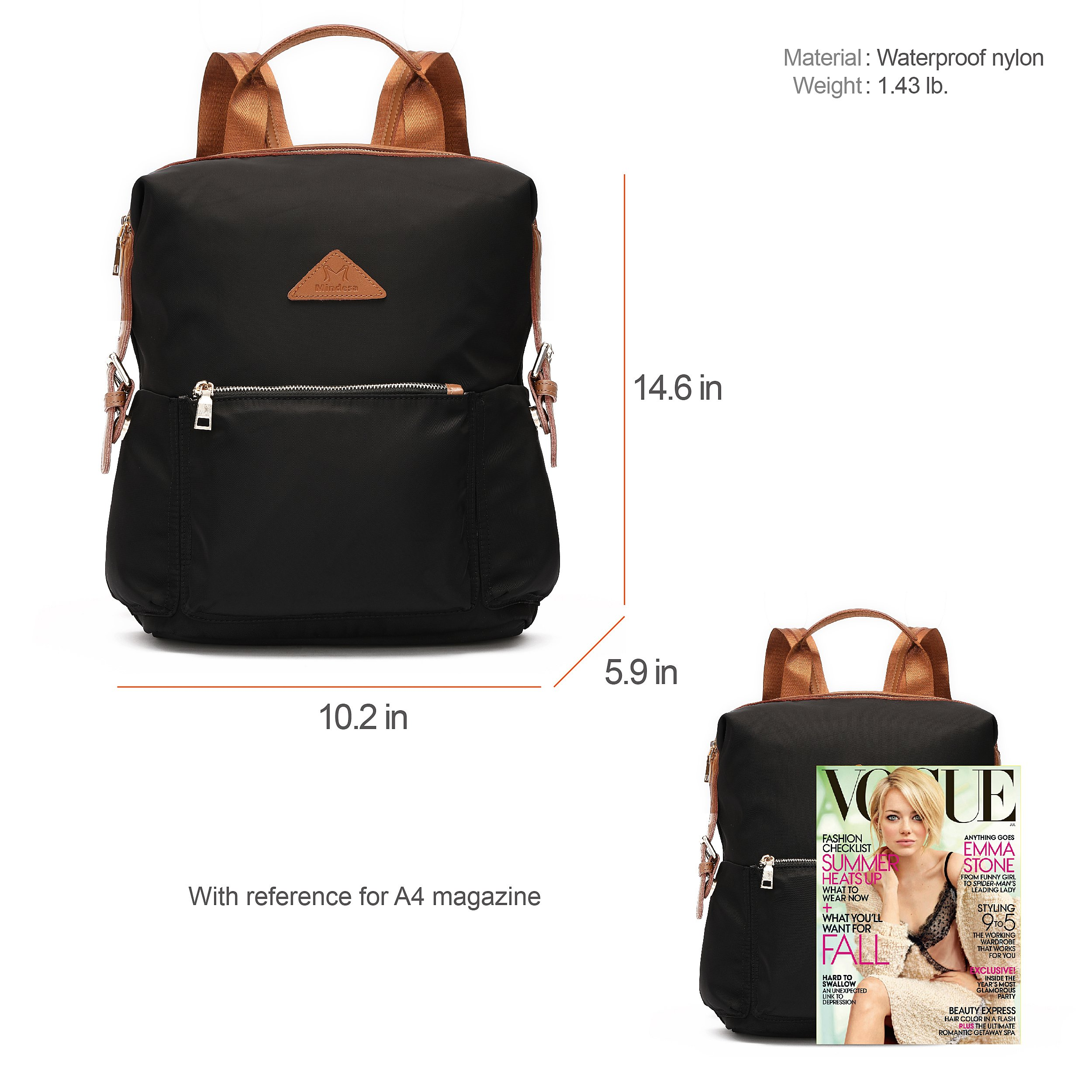Ali Victory Women's Anti-Theft Water Resistant Nylon Backpacks (Black) by Ali Victory (Image #7)