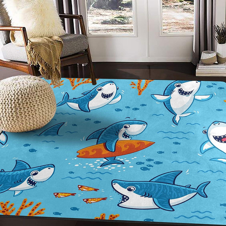 "ALAZA Underwater Cute Cartoon Shark Area Rug Rugs for Living Room Bedroom 5'3""x4'"