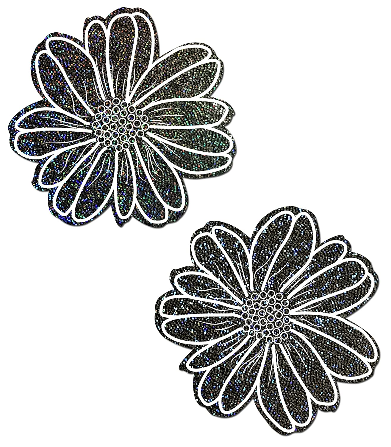 Wildflower: Black Glitter with White Flower Nipple Pasties by Pastease® o/s WLD-GLT-BK-WT