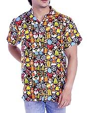 Virgin Crafts Hawaiian Christmas Shirts Men Santa Claus Beach Holiday Party Casual Shirt