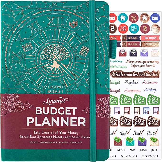 Amazon.com : Legend Budget Planner - Deluxe Financial Planner Organizer & Budget Book. Money Planner Account Book & Expense Tracker Notebook Journal for Household Monthly Budgeting and Personal Finance – Veridian : Office Products