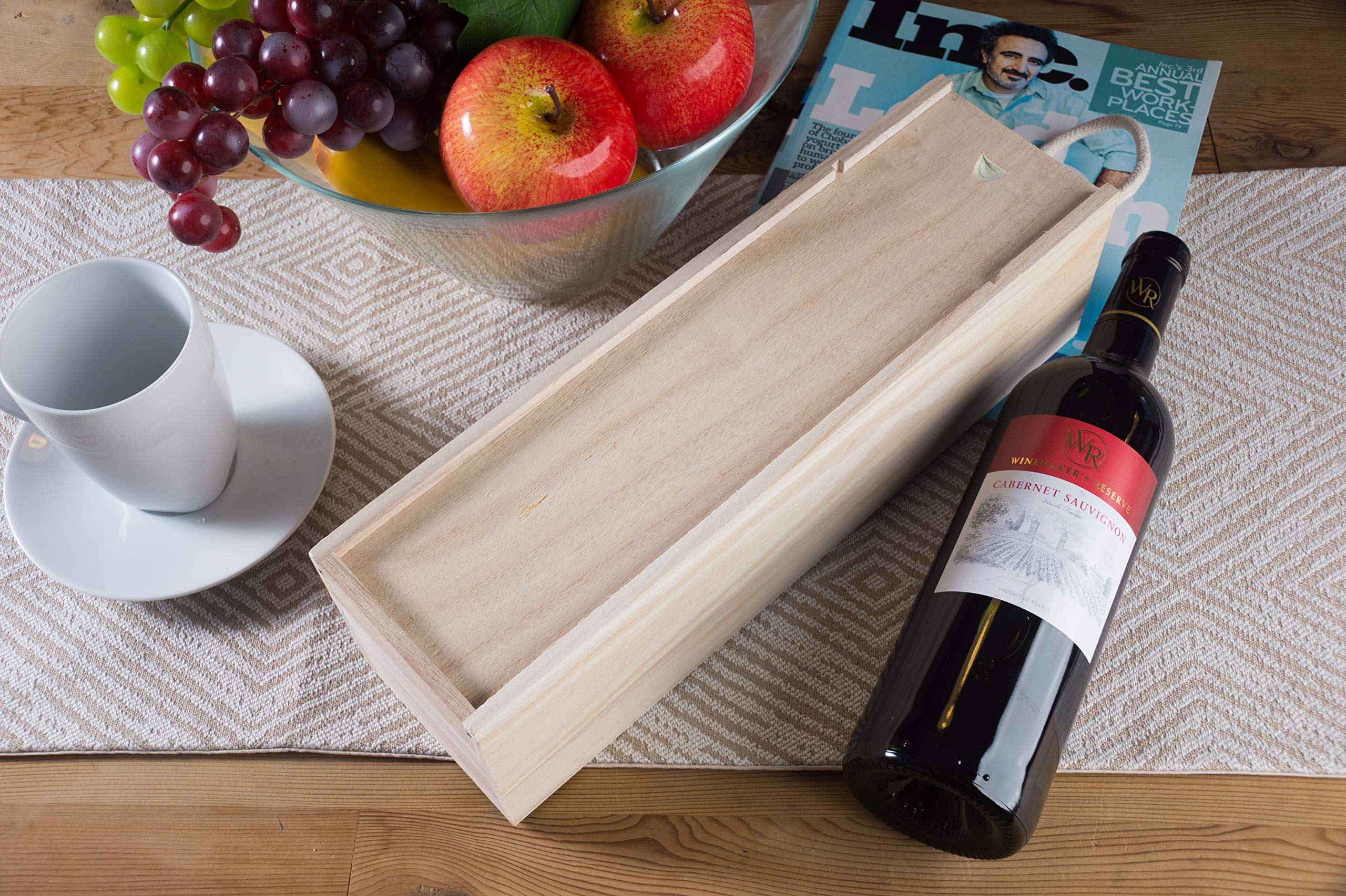 Juvale Wooden Wine Box - 2-Pack Single Wine Bottle Wood Storage Gift Box with Handle for Birthday Party, Housewarming, Wedding, Anniversary, 13.875 x 3.875 x 4 Inches by Juvale (Image #2)