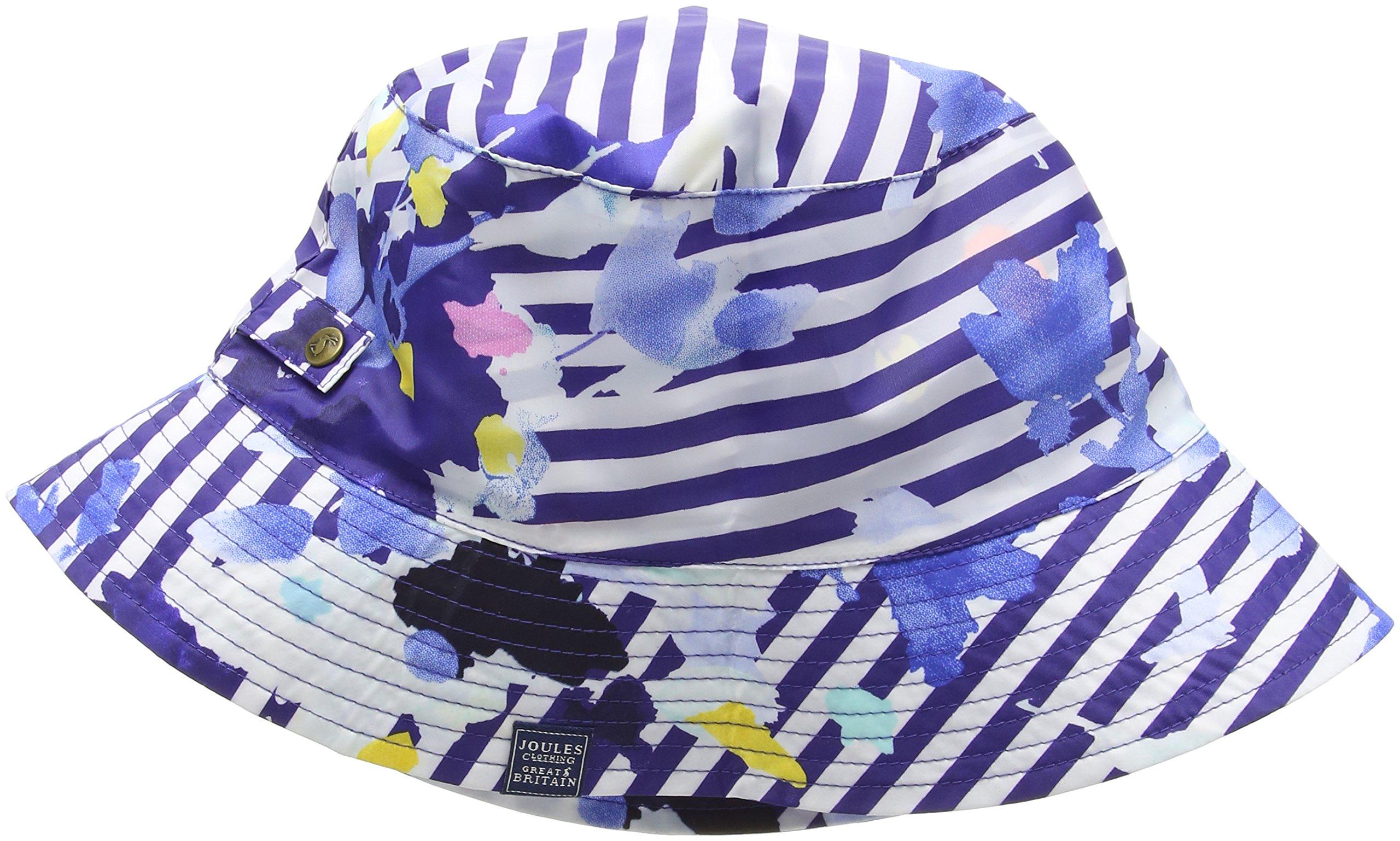 Joules Women's Rainyday Packable Rain Hat, Multi Floral Stripe One Size