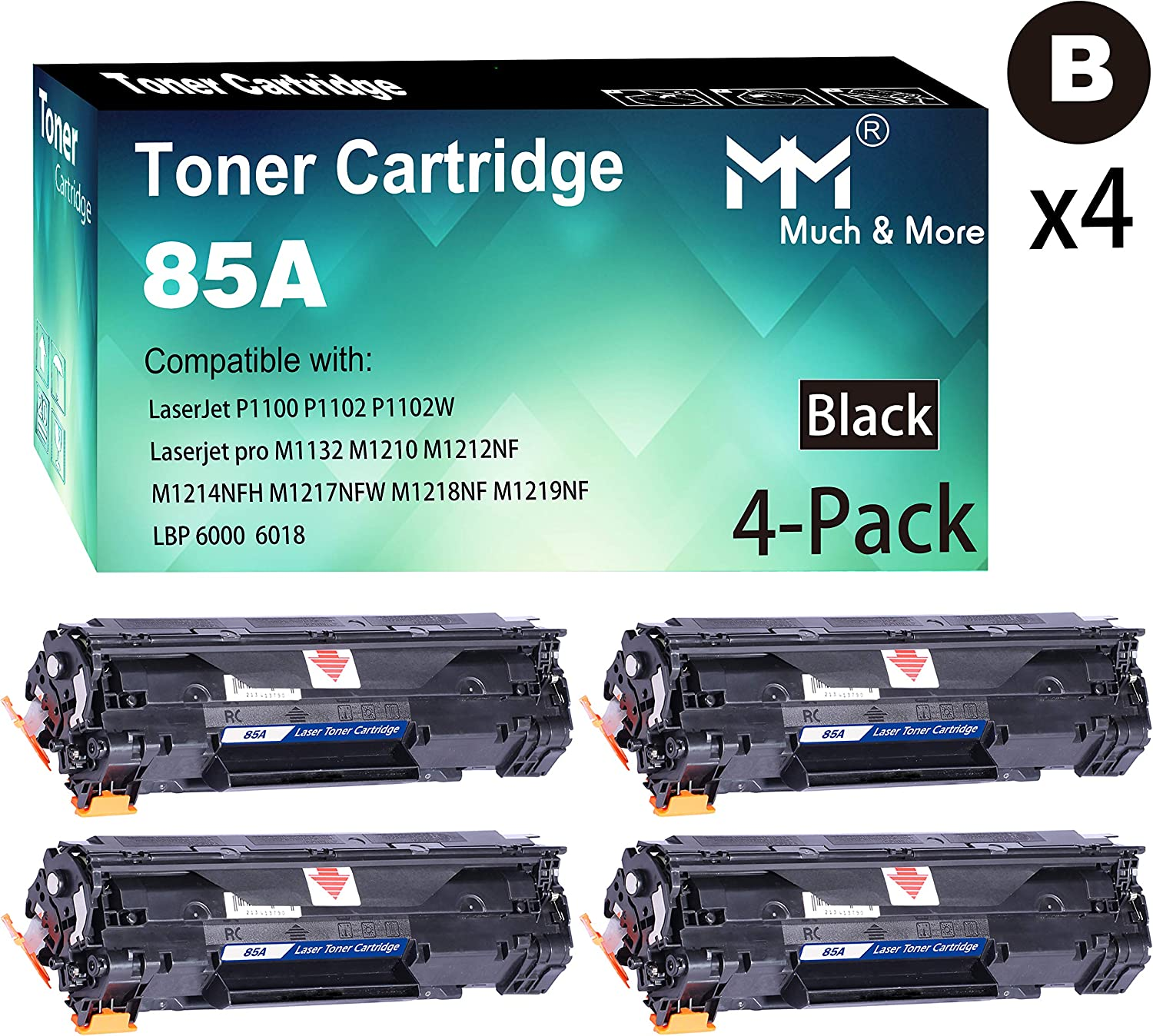 (Black, 4-Pack) Compatible HP 85A CE285A Toner Cartridge 285A to Used with HP Laserjet Pro P1102w P1109w M1212nf M1217nfw MFP Printer, by MuchMore