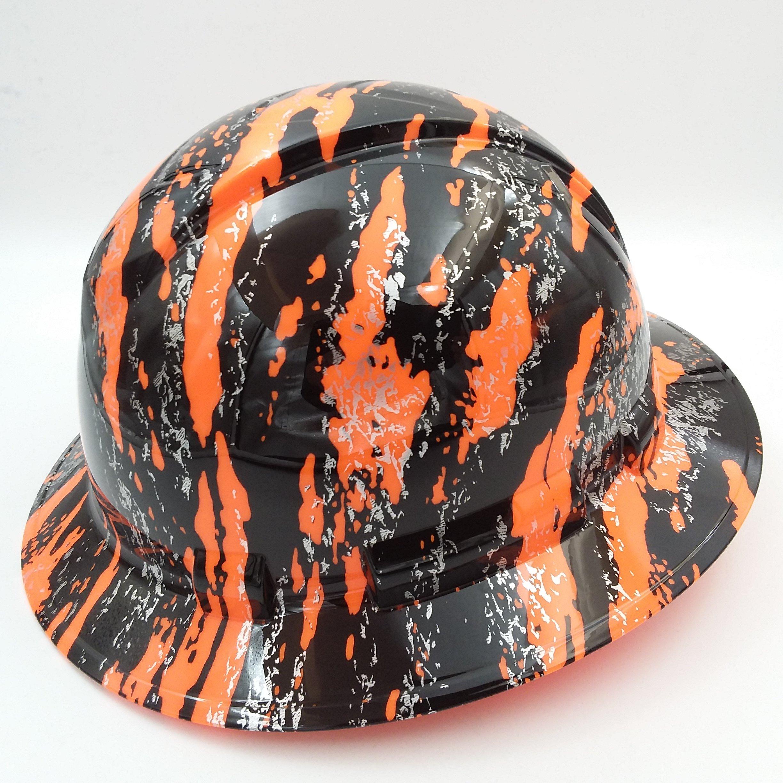 Wet Works Imaging Customized Pyramex Full Brim Hi Vis Orange Urban Camo Hard Hat With Ratcheting Suspension by Wet Works Imaging (Image #2)