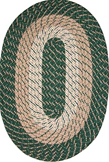product image for Plymouth 8' Round Braided Rug in Hunter Green Made in USA