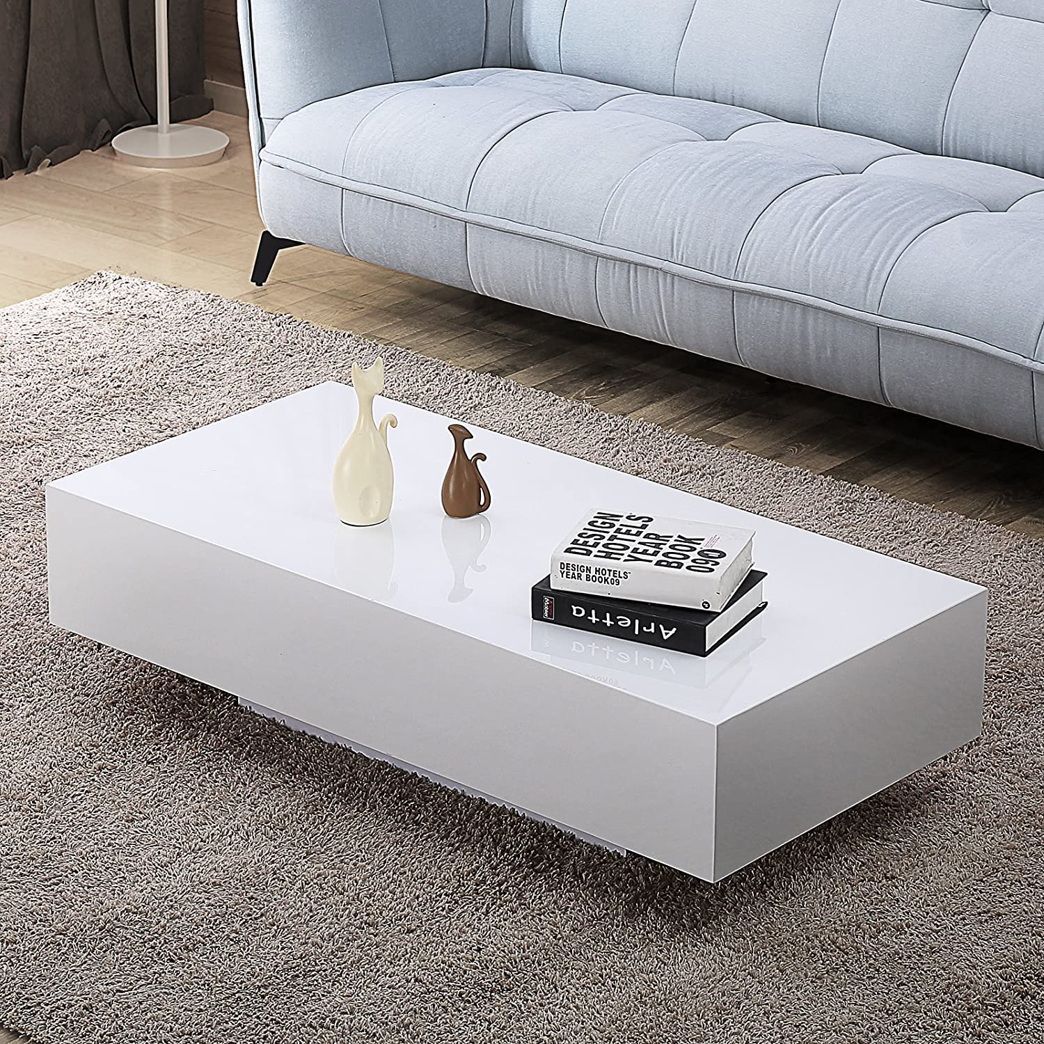 Mecor High Gloss White Rectangle Coffee Table Modern Side//End//Sofa Table 1 Layer Living Room Home Furniture Small Size