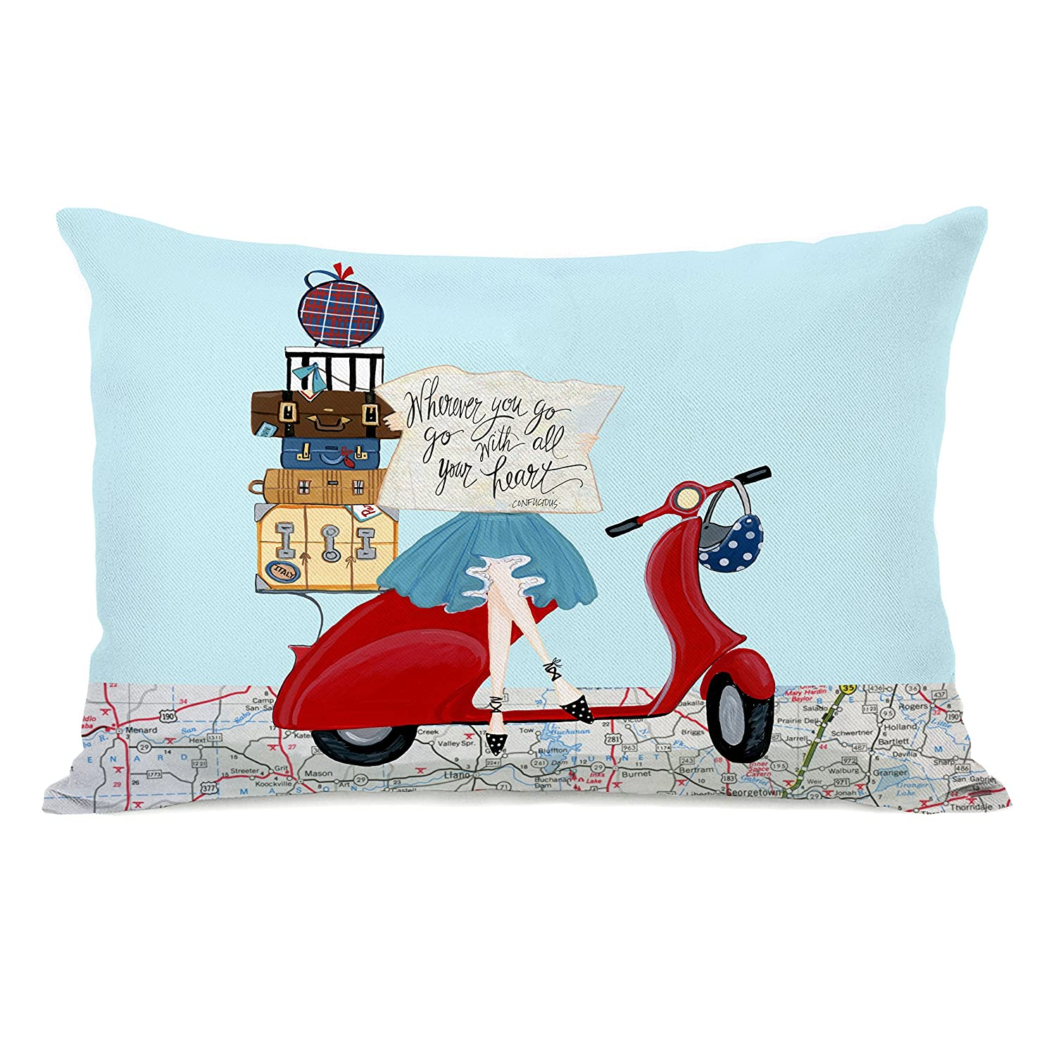 One Bella Casa 74603PL42 'Wherever You Go Map' Pillow by Pinklight StudioApril Heather Art, Multicolored