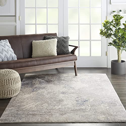 Nourison Sleek Textures Abstract Ivory Grey Area Rug 5'3″ x 7'3″