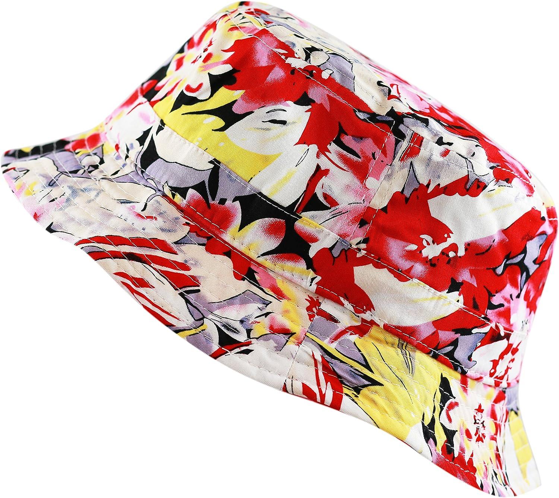 THE HAT DEPOT Floral Print Hawaiian Flower Summer Beach Bucket Hat