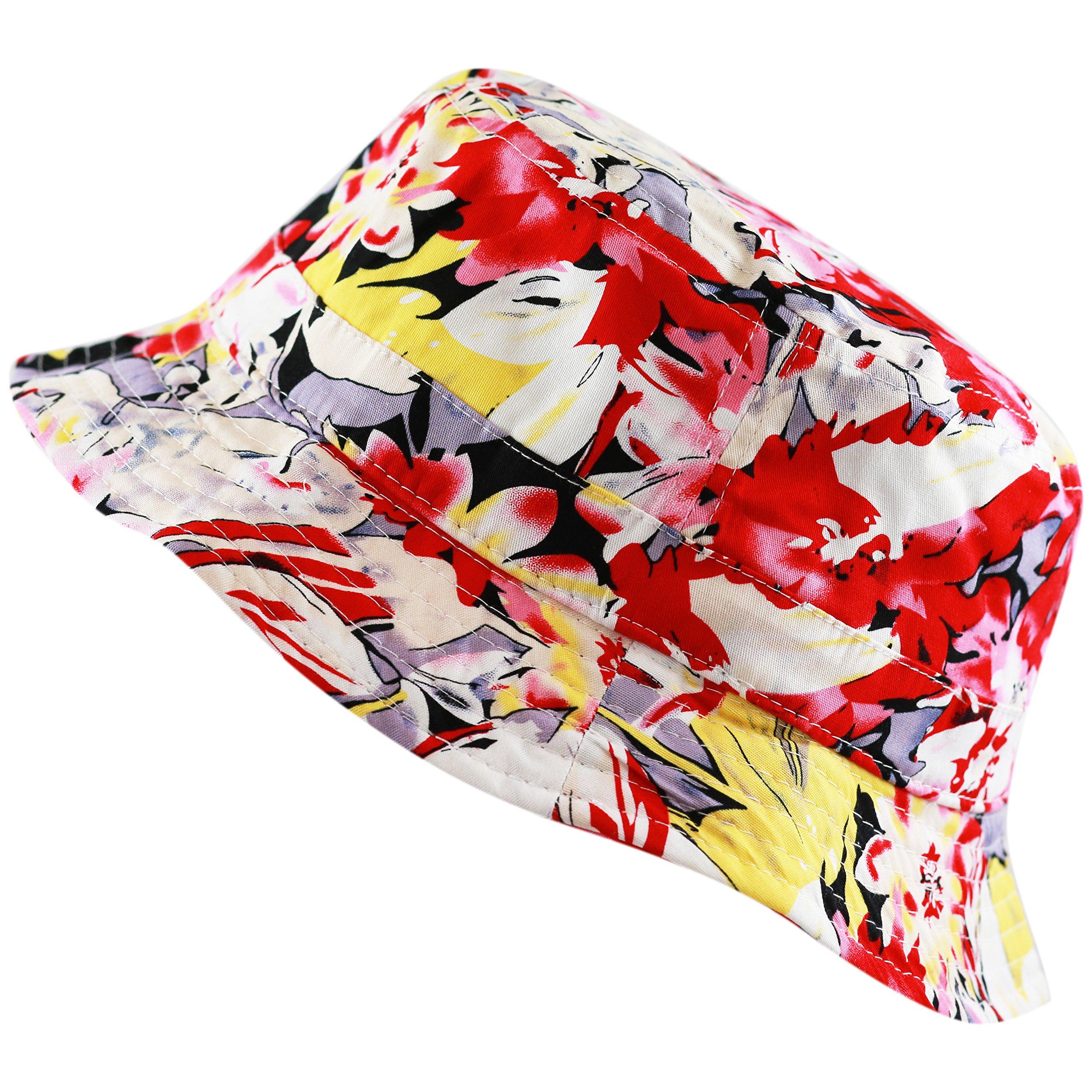 Floral Print Hawaiian Flower Beach Bucket Hat (L/XL, Red)