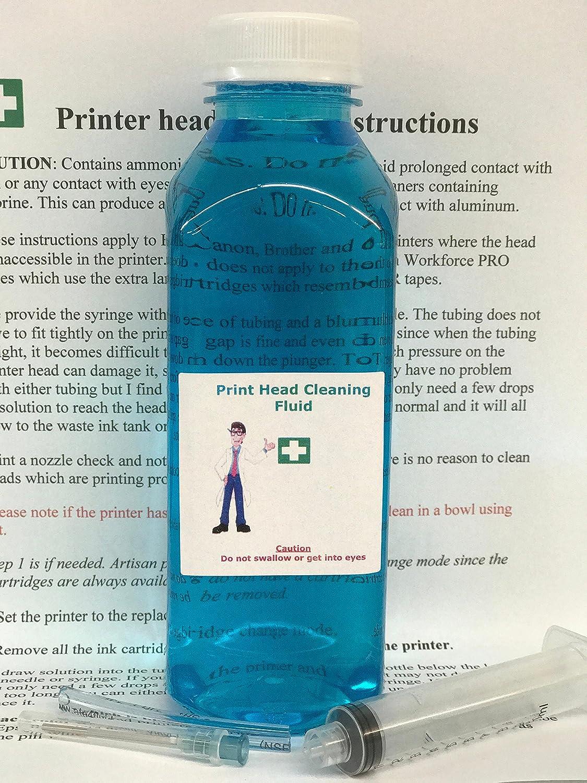 Inkjet Printers Printhead Cleaner for WF-2630 WF-2660 WF-7520 WF-7510 WF-7010 WF-3540 WF-3530 WF-3520 WF-3720 XP-440 XP-340-16oz 1 Litre Cleaning Kit Print Head geek