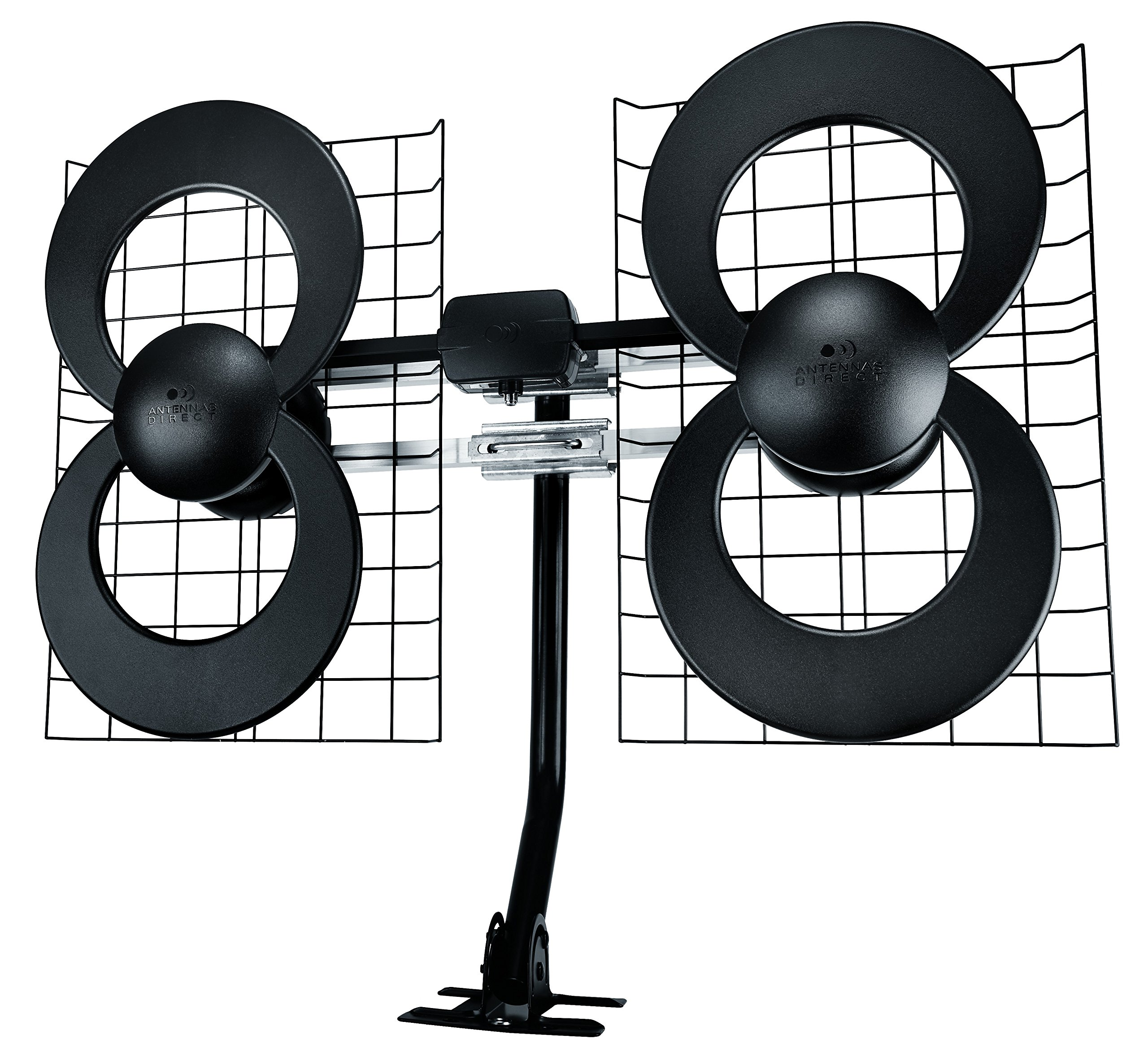 Antennas Direct ClearStream 4 TV Antenna, 70+ Mile Range, UHF/VHF, Multi-directional, Indoor, Attic, Outdoor, Mast w/Pivoting Base/Hardware/Adjustable Clamp/Sealing Pads, 4K Ready, Black - C4-CJM by Antennas Direct