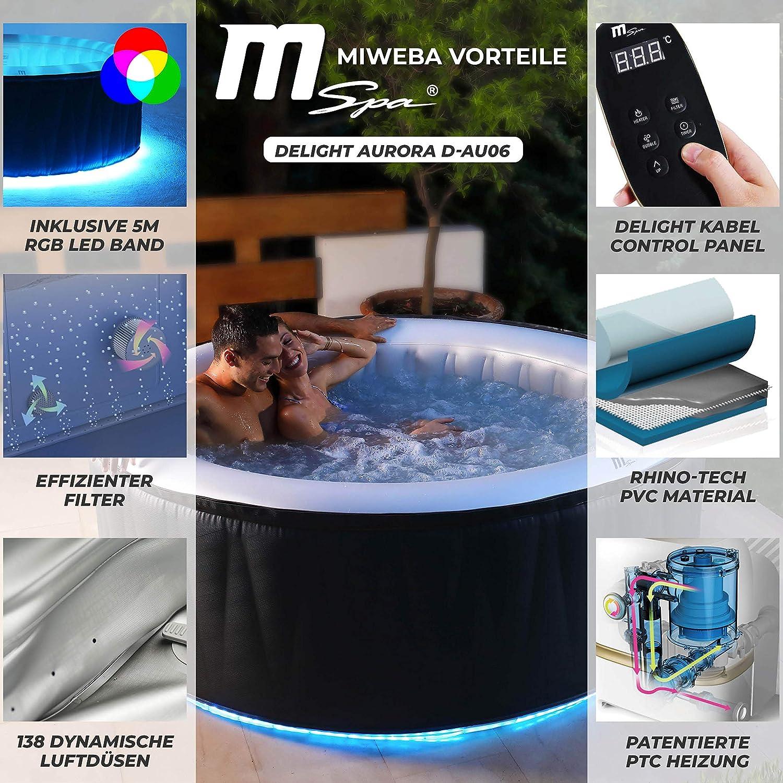 Miweba MSpa - Jacuzzi Hinchable para Exteriores, Incluye LED, 4/6 Personas, 118/138 boquillas, 180/204 x 70 cm, certificación TÜV, 700/900 litros: Amazon.es: Jardín